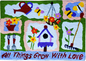 All Things Grow With Love Handcrafted Accent Rug