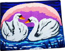 Load image into Gallery viewer, Swimming Swan Duo In Lake Sunset/Sun Rise Handcrafted Accent Rug