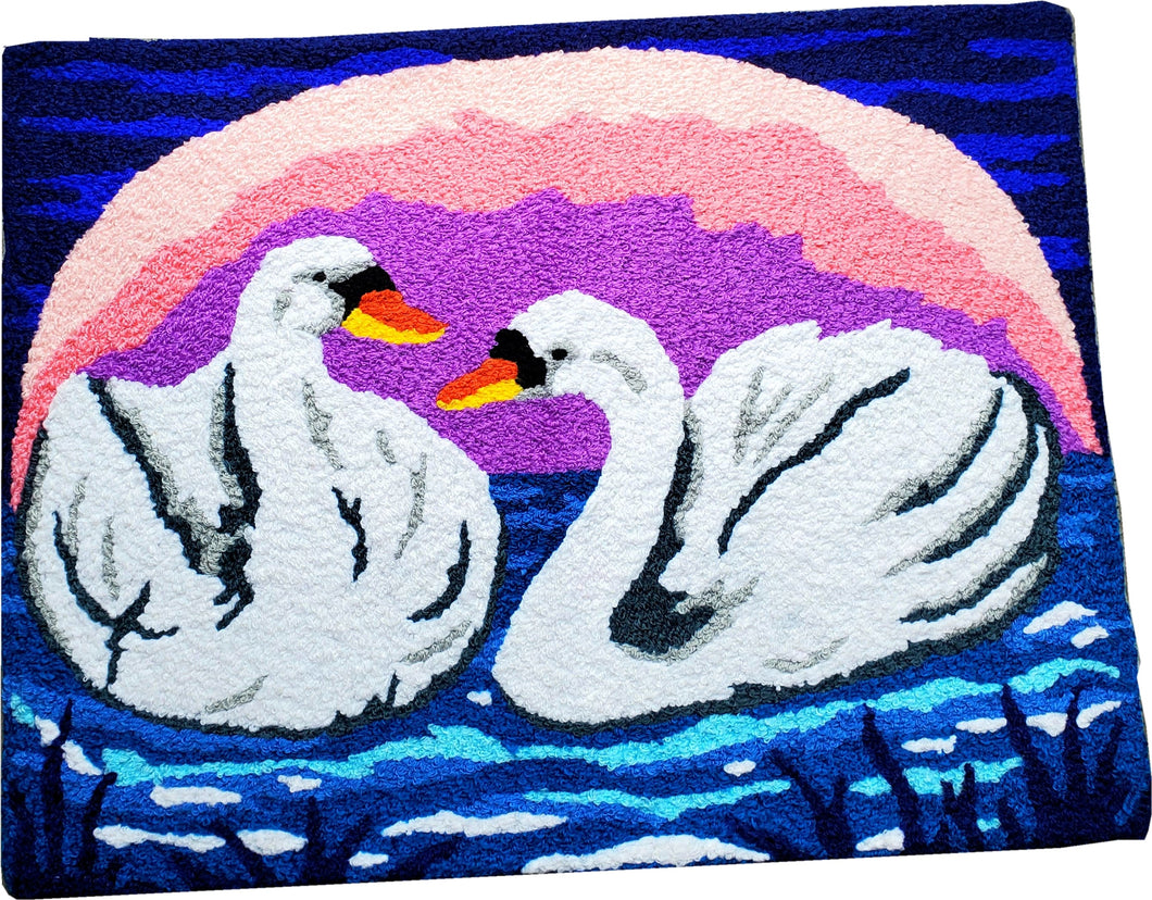 Swimming Swan Duo In Lake Sunset/Sun Rise Handcrafted Accent Rug