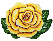 Load image into Gallery viewer, Vibrant Single Yellow Rose Handcrafted Accent Rug