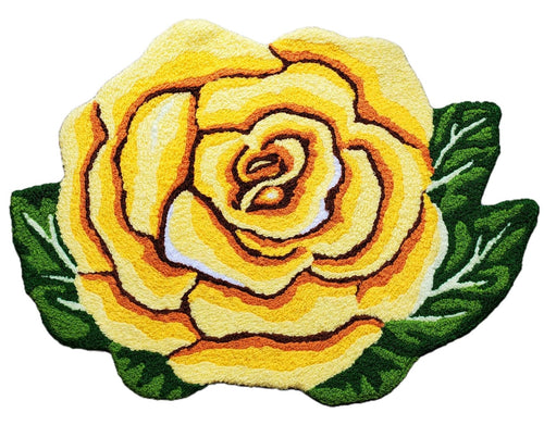 Vibrant Single Yellow Rose Handmade Accent Rug