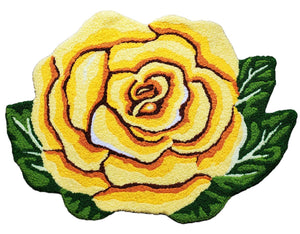Vibrant Single Yellow Rose Handcrafted Accent Rug