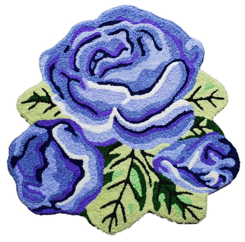 Vibrant Blue-Purple Trio Roses Handcrafted Accent Rug