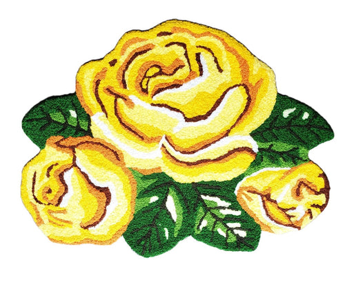 Vibrant Trio Bright Yellow Rose Beauties Handmade Accent Rug