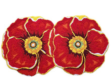 Load image into Gallery viewer, Vibrant Red Hibiscus Flowers Handmade Accent Rug