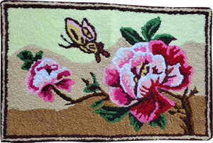 Beautiful Peonies & Butterfly handcrafted Accent Floral rug