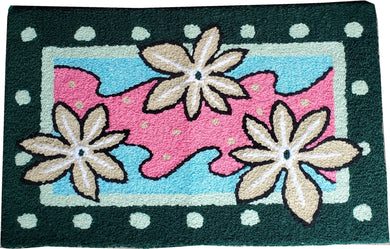 Vibrant Abstract White Flower Handmade Floral Accent Rug