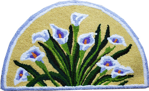 A Bouquet Of Blue Lilies handmade Accent Rug
