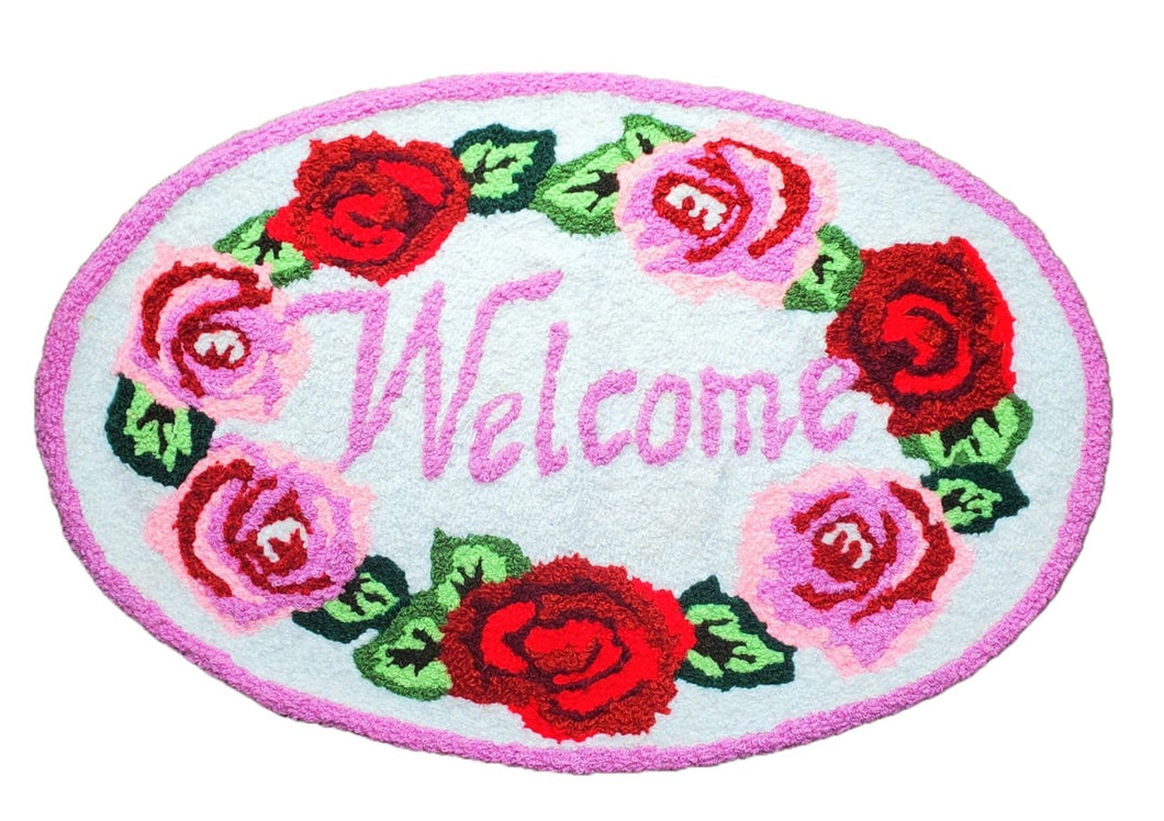 White Red Vibrant Rose Love Welcome Handmade Handcrafted Accent Rug