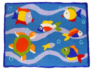 Fish & Sea Critter Fish Sea Turtle Handcrafted Accent Rug