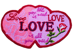 Pink Heart Shaped Love Valentine's Day Handmade Accent Rug