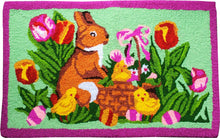 Load image into Gallery viewer, Easter Bunny In Flowers Handcrafted handmade Accent Rug