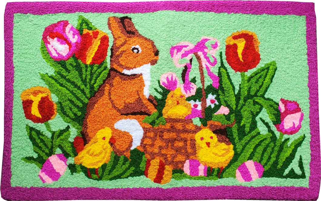Easter Bunny In Flowers Handcrafted handmade Accent Rug