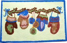 Load image into Gallery viewer, Christmas Mittens & Ornaments Handcrafted Accent Decorative  Rug