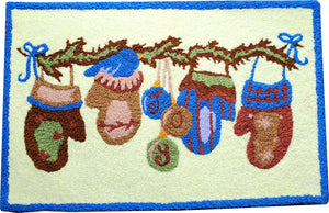 Christmas Mittens & Ornaments Handcrafted Accent Decorative  Rug