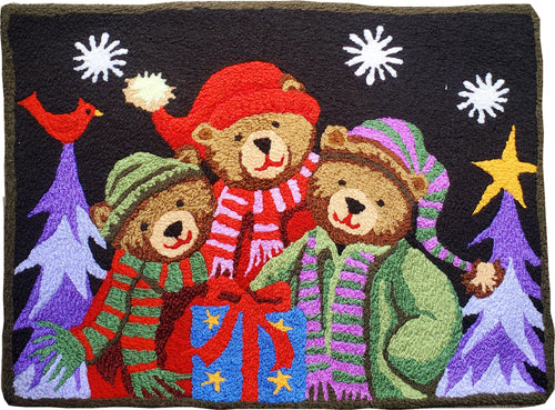 Three Bears On a Cold Winter Handmade Area Rug