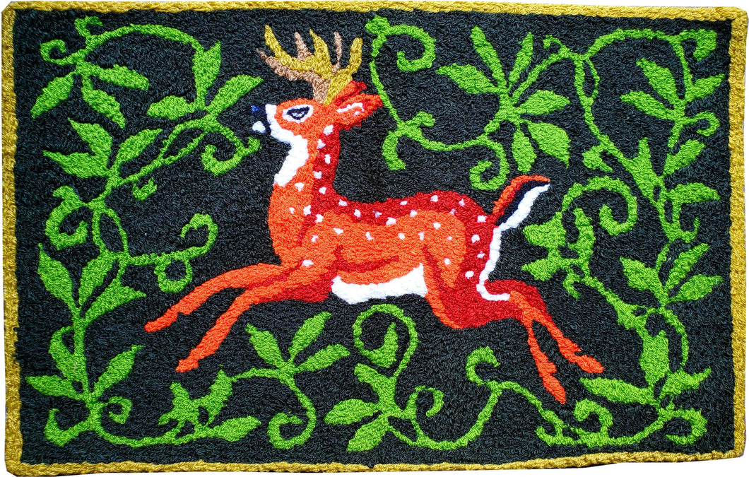 Winter Christmas Deer Handcrafted Accent Rug