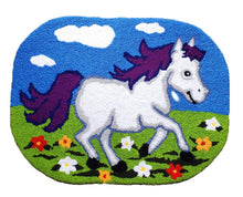 Load image into Gallery viewer, Vivid Vibrant Kids Unicorn Horse Grassland Handmade Accent Rug