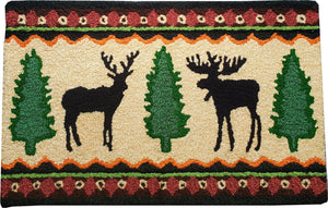 Deer & Moose Wilderness Handcrafted / Handmade Accent Area Rug
