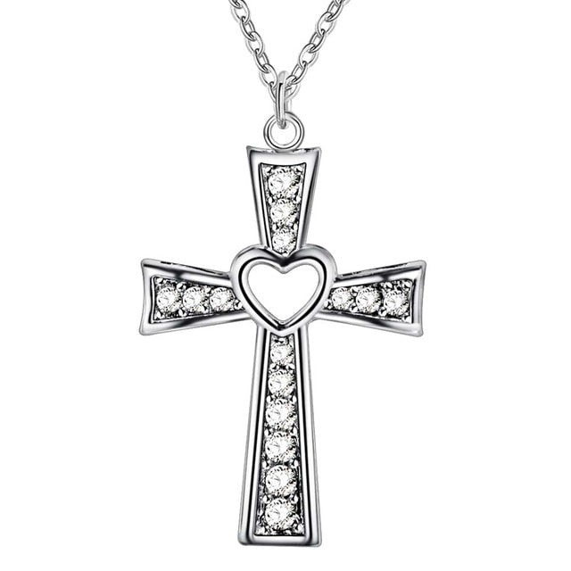 Sterling Silver I Love Jesus Cross Necklace