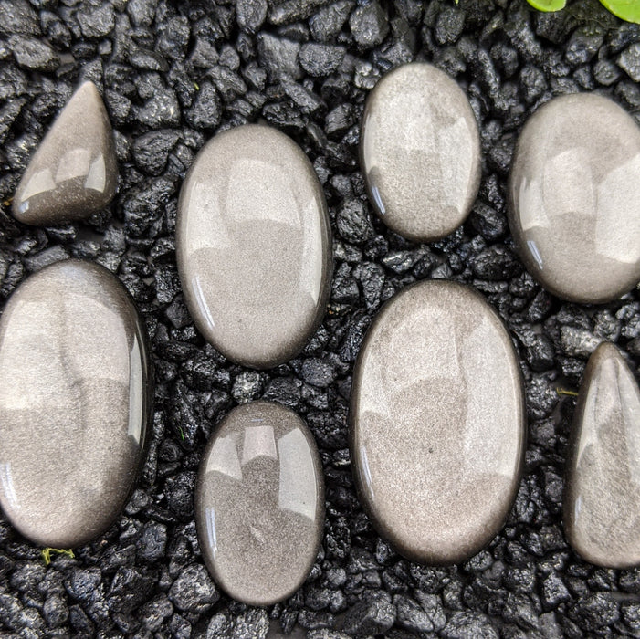 Silver Sheen Obsidian Cabochons Rose Cut Choose a single cabochon or a set of 3 12 to 13 mm