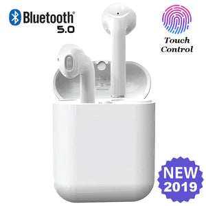 Airpod Alternatives - Black or White Wireless Earbuds Bluetooth V5 Touch Control