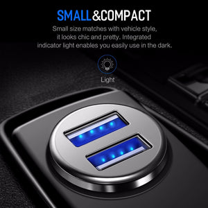 Fast USB Car Power Adapter with 2 USB Ports