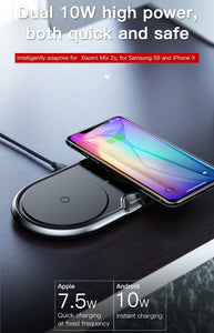 10W Dual Qi Wireless Fast Charging Pad for iPhone and Android