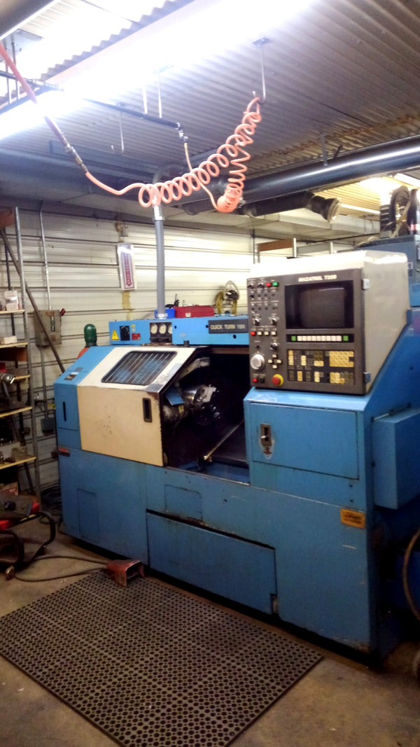 "1995 Mazak QT18 Chucker CNC Lathe, 10"" Chuck, 2.76"" Bar Capacity, Chip Conveyor"