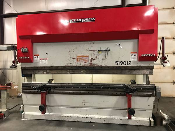 190 Ton x 12' Accurpress ACCELL 519012 CNC Press Brake, 2003 - 9 Axis CNC Control