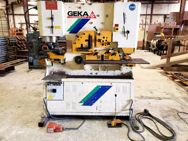 Geka Hydracrop 110 ton Iron worker, 4k in Tooling Included, Underpower,  Video Available