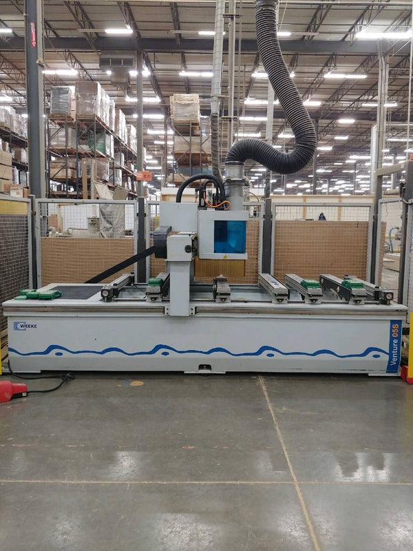 Weeke Venture 05S CNC Bridge Gantry Machining Center, 2007 - Vaccum Pump, Scrap Conveyor, Handheld Pendant