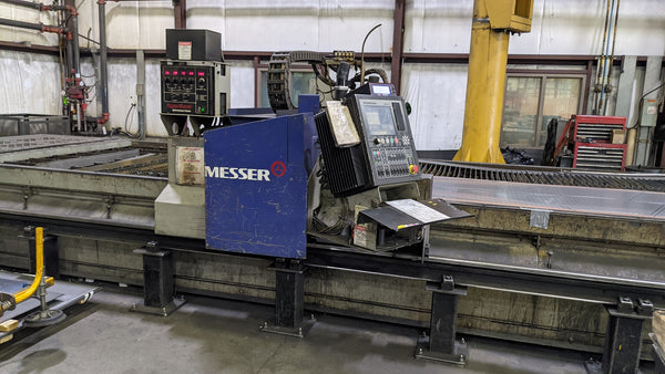 8' x 21' Messer Edge Master Plasma, 2005 - Hypertherm High Definition HPR 130, Slagger Down Draft Table
