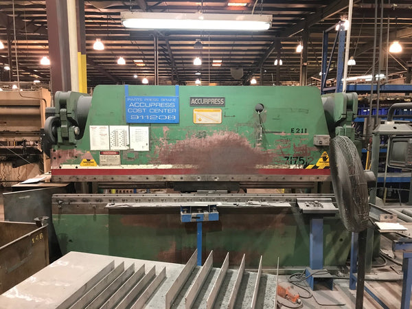 175 Ton x 12' Accurpress 717512 CNC Press Brake, 1994- Accurpress CNC Control, Single Axis backgauge