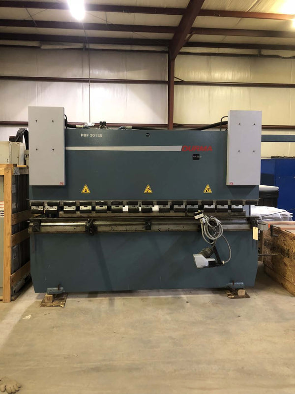 132 Ton X 10' Durma PBF 30120 CNC Press Brake, 2013- Y1,Y2,X, Crowning, Tooling Included