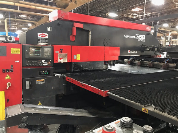33 Ton Amada Vipros 368 King II CNC Turret Punch, 1998- Tower Loading System & Unloader