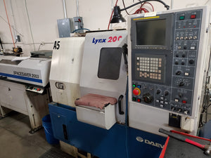 2000 Daewoo Lynx 200 CNC Lathe - Bar Feeder, Chip Conveyor