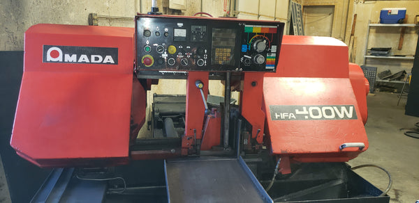 Amada HFA 400W Automatic Horizontal Band Saw W/ Auto Feeder, 1995