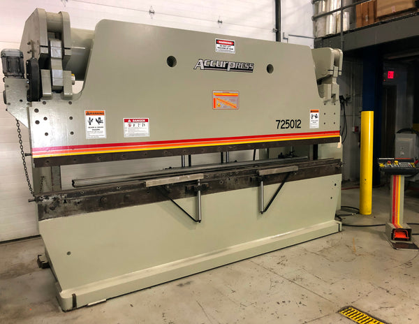 Accurpress Model 725012 Hydraulic Press Brake, 1999 - 250 Ton x 12', ETS200 Control, 2 Front Sheet Supports