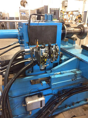 Autospin 3-Axis 2-Roller Spinning Lathe, 1985- Rebuilt, Siemens, New 50 HP Drive, Software, Remote Panel