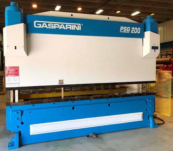 Gasparini PSG-200-4000 Hydraulic Press Brake, 2000 - 200 Ton x 13', Delem DA 65 Control, 3-Axis Backgauge, American Tooling