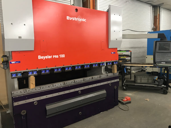 112 Ton x 8.5' Bystronic Beyeler PR6 100 CNC Press Brake, 2001 - 4 Axis, New CNC Control 2014