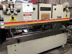1998 Accurpress 60 Ton x 8ft Press Brake, Model 7608 W/ Tooling