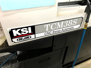 KSI TCM38S CNC Lathe, 2017- Bar Feeder, Chip Conveyor