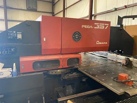 Amada Pega 357 Turret Punch, 33 ton 58 Station - 1990 W/MP1225NJ Loader
