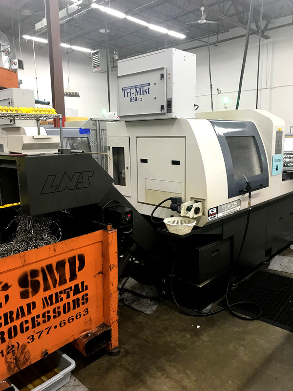 KSI TCM32S CNC Lathe, 2017 - Bar Feeder, Chip Conveyor