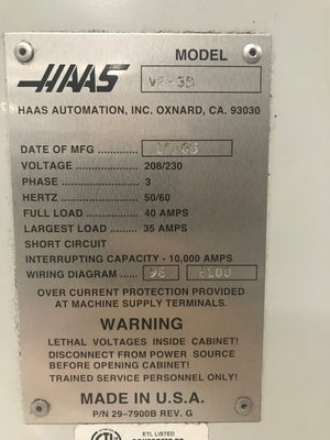2005 Haas VF-3 with 4th Axis HRT-210 Rotary Table, 20 HP, PRICED TO MOVE!