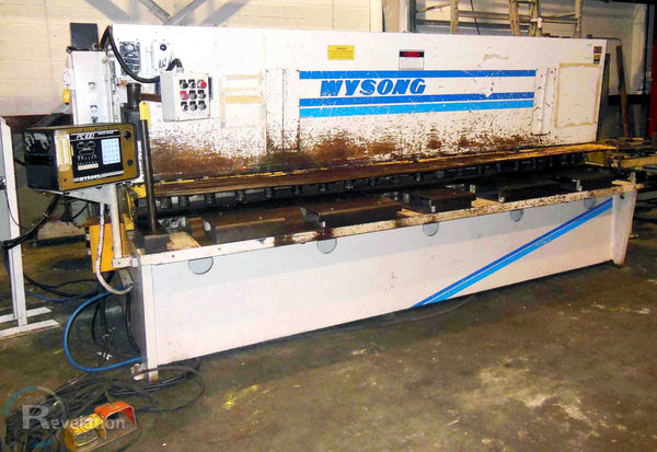 "1995 Wysong 12' X 1/2"" Hydraulic Squaring Shear, Model H-5012- 3 Axis Back Gage, Power Table, Auto Conveyor Stack"