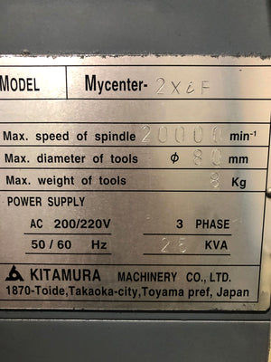 2004 Kitamura Sparkchanger Mycenter-2XiF Vertical Machining Center with Pallet Changer