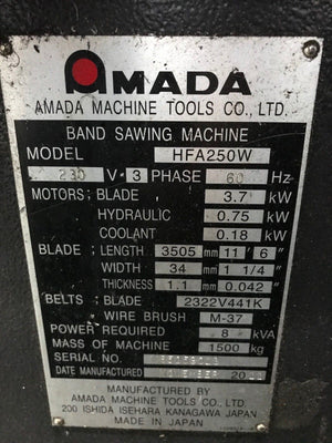 2012 Amada HFA-250W CNC 10 x 10 Horizontal Band Saw, 10ft roller table, Video!